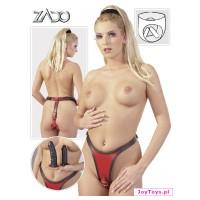 Skórzane stringi z 2 dildo Leather thong 2 dildos - L/XL