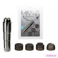Mini masażer z 4 końcówkami The Rocket Silver - cm