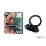 Czarny, silikonowy, wibrujący pierścień na penisa Cockring Silicone mit Vibration.